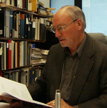 Image of Professor Emeritus of Space Science Gordon Shepherd in his office