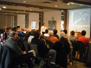 Professor Marshall McCall delivers his presentation to a capacity crowd at the University of Windsor