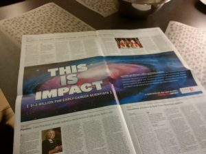 This is Impact ad in The Globe and Mail