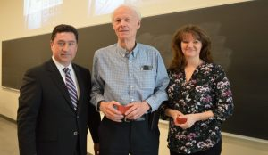 From left to right, Vice-President Advancement Jeff O'Hagan, Professor Emeritus Allan Carswell and Diane Carswell